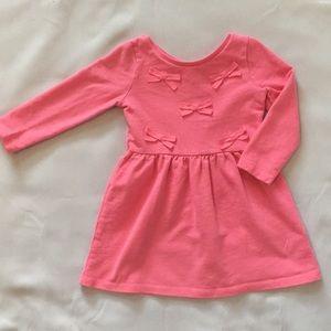 Pink bow sweatshirt dress